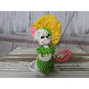 Annalee Baker Mouse Chef In Floral Green Dress Bun